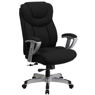 Bolvan Big and Tall Black Fabric Executive Swivel Office Chair with Adjustable Arms