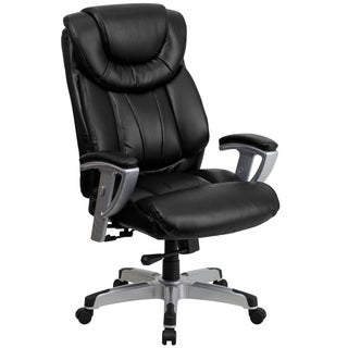 Bolvan Big and Tall Black Leather Executive Swivel Office Chair with Adjustable Arms