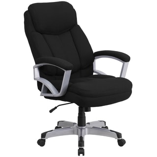 Arton Big and Tall Black Fabric Executive Swivel Adjustable Office Chair with Headrest