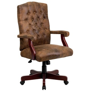 Ultra Rustic Suede Button Tufted Mahogany Wood Adjustable Executive Swivel Office Chair