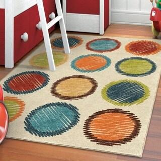 Carolina Weavers Playroom Collection Gum Drops Ivory Area Rug