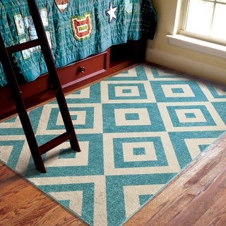 Carolina Weavers Indoor/Outdoor Kids Tempe Light Blue Area Rug (3'10 x 5'2)