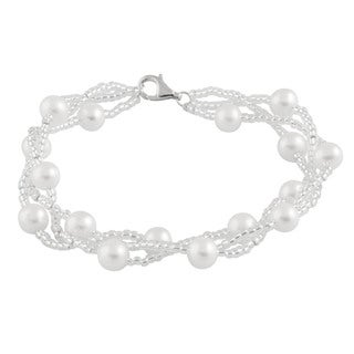 Sterling Silver Braided Freshwater Pearl Bracelet (6-7mm)