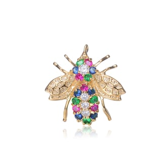 Collette Z Gold Overlay Multicolor Cubic Zirconia Bug Pin