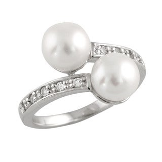 Sterling Silver Fancy Double Pearl and Cubic Zirconia Ring (7-8mm)