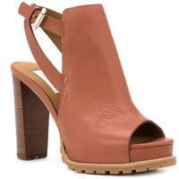 See by Chloe Brown Chunky Heel Sandals