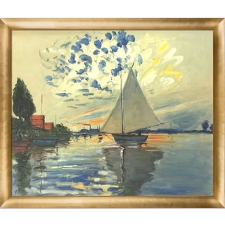 Claude Monet 'Sailboat at Le Petit-Gennevilliers' Hand Painted Framed Canvas Art