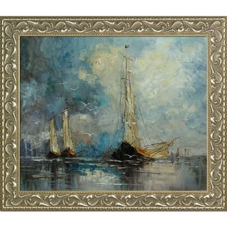 Justyna Kopania 'Boats' Hand Painted Framed Canvas Art