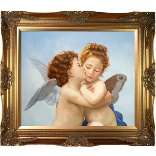 William Bouguereau 'Cupid and Psyche as Children' Hand Painted Framed Canvas Art