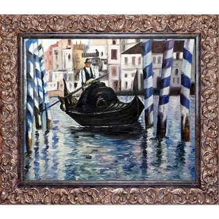 Edouard Manet 'The Grand Canal, Venice II' Hand Painted Framed Canvas Art