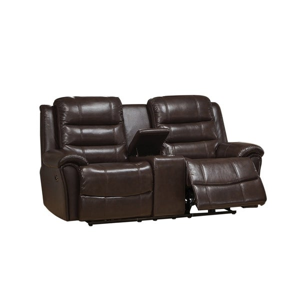 Shop Astoria Top Grain Leather Lay Flat Power Reclining Loveseat