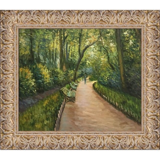 Gustave Caillebotte 'Parc Monceau' Hand Painted Framed Canvas Art
