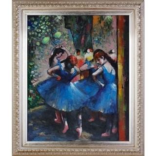 Edgar Degas 'Dancers in Blue' Hand Painted Framed Canvas Art