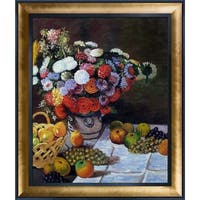 Claude Monet 'Flowers and Fruit' Hand Painted Framed Canvas Art
