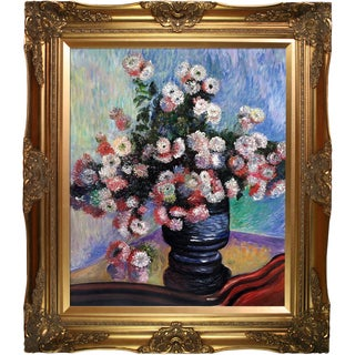Claude Monet 'Chrysanthemums' Hand Painted Framed Canvas Art