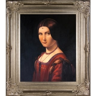 Leonardo da Vinci 'Portrait of an Unknown Woman' Hand Painted Framed Canvas Art