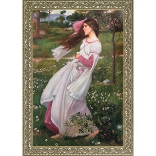 John William Waterhouse 'Windflowers, 1902' Hand Painted Framed Canvas Art