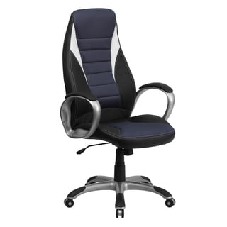 Black Leatherette Executive Swivel Adjustable Office Chair With Blue Mesh Inserts