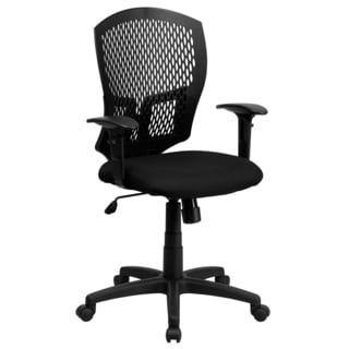 Perforated Back Design Swivel Adjustable Black Office Chair with Padded Fabric Seat