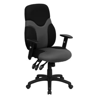 Dinton Ergonomic Black and Grey Mesh Swivel Task Office Chair with Height Adjustable Arms