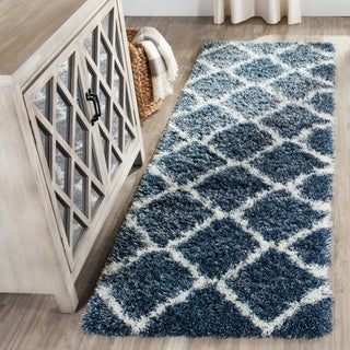 Safavieh Montreal Shag Blue/ Ivory Polyester Rug (2'3 x 7')