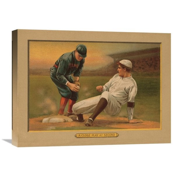 Global Gallery 'A Close Play at Second, Baseball Card' Stretched Canvas Artwork