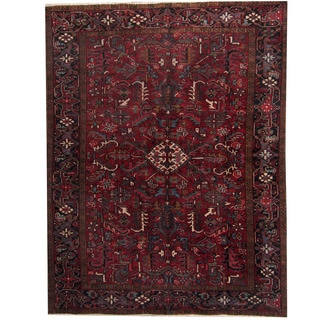 Herat Oriental Persian Hand-knotted 1940s Semi-antique Heriz Red/ Dark Navy Wool Rug (7'5 x 9'6)