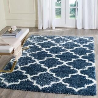 Safavieh Montreal Trellis Shag Blue/ Ivory Rug (8' x 10')