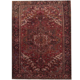 Herat Oriental Persian Hand-knotted 1940s Semi-antique Heriz Wool Rug (9' x 12')
