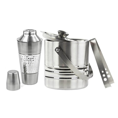 Stainless Steel 25-ounce Cocktail Shaker and 3 Qt Ice Bucket Set