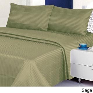 Cotton Sateen 4-piece 300 TC Dobby Stripe Sheet Set