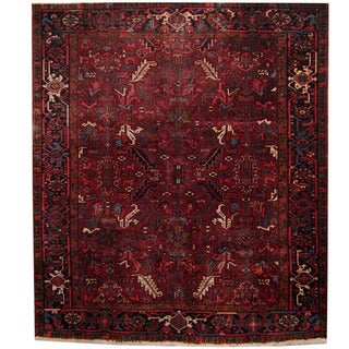 Herat Oriental Persian Hand-knotted 1940s Semi-antique Heriz Wool Rug (7'9 x 9')