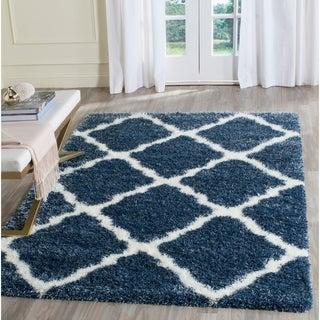 Safavieh Montreal Shag Blue/ Ivory Polyester Rug (5'3 x 7'6)
