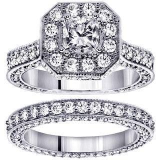 Platinum 4 1/2ct TDW Princess-cut Engagement Bridal Set