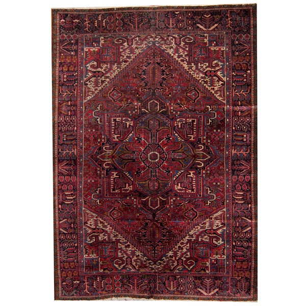 Herat Oriental Persian Hand-knotted 1940s Semi-antique Heriz Wool Rug - 7'5 x 11'9