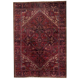 Herat Oriental Persian Hand-knotted 1940s Semi-antique Heriz Wool Rug (7'5 x 11'9)