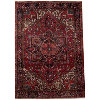 Herat Oriental Persian Hand-knotted 1940s Semi-antique Heriz Wool Rug (7'3 x 10'3)