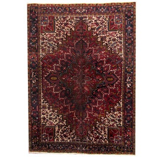 Herat Oriental Persian Hand-knotted 1960s Semi-antique Heriz Wool Rug (7'11 x 10'9)