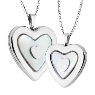 Stainless Steel Mother of Pearl Mother Daughter Locket Set