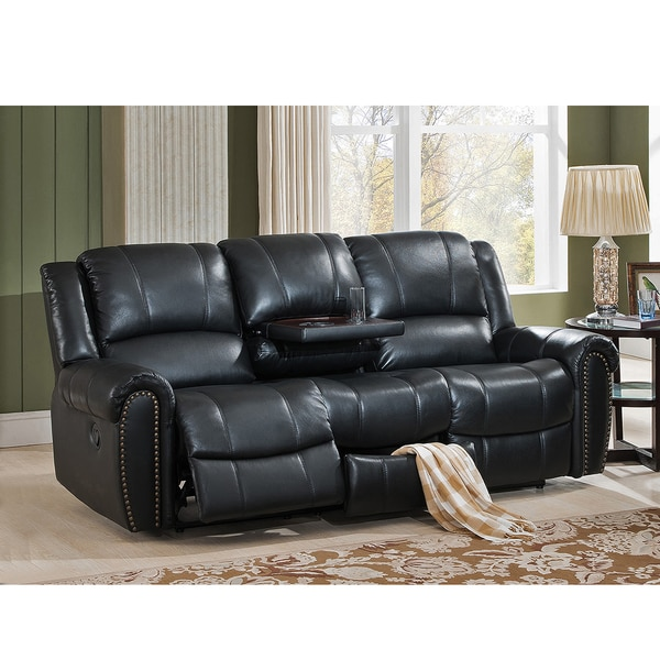houston top grain leather reclining sofa with memory foam storage