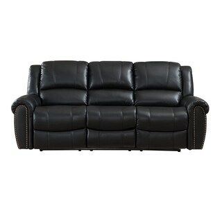 Houston Top Grain Leather Reclining Sofa with Memory Foam, Storage Drawer, and Pull-Out Tray Table
