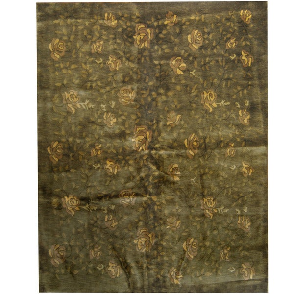 Handmade Herat Oriental Indo Tibetan Wool Rug - 7'9 x 9'9 (India)