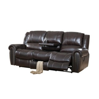 Charlotte Top Grain Leather Reclining Sofa with Memory Foam, Storage Drawer, and Pull Out Tray Table