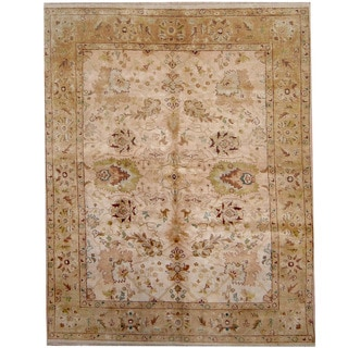 Herat Oriental Indo Hand-knotted Vegetable Dye Oushak Wool Rug (7'10 x 10')