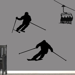 Skiing Large Wall Decal Set