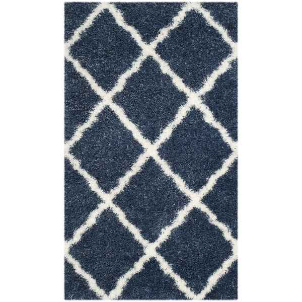 Safavieh Montreal Shag Blue/ Ivory Polyester Rug (3' x 5')