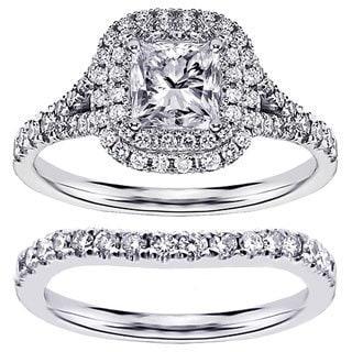 14k or 18k White Gold 1 7/8ct TDW Micro Pave Set Princess-cut Halo Engagement Bridal Set