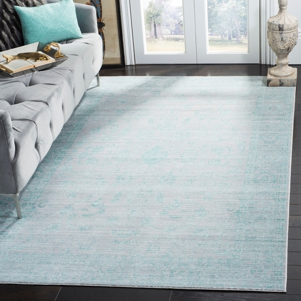 Safavieh Valencia Blue/ Multi Overdyed Distressed Silky Polyester Rug - 4' x 6'