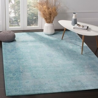Safavieh Valencia Teal/ Multi Overdyed Distressed Silky Polyester Rug (4' x 6')