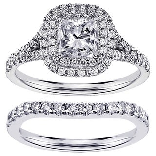 Platinum 1 7/8ct TDW Clarity Enhanced Set Princess-cut Halo Engagement Bridal Set